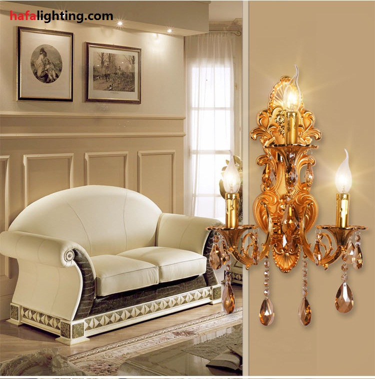 Fashion 3 lamps crystal wall lamp candle double slider Contemporary wall sconces for living room