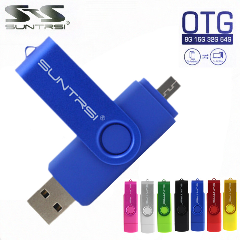 Suntrsi OTG USB Flash Drive Swivel Pen drive Wholesale USB Stick for Android Smartphone Pendrive Customized Logo USB Stick(China (Mainland))