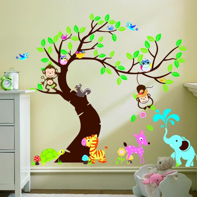 Стикер стены дерево и обезьяна детская комната фон ZYPA-1214 DIY украшения детский дневных детская комната декор
