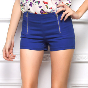 Burst models Europe America 2015 summer female candy color double zipper shorts casual Slim - lanhua cai's store