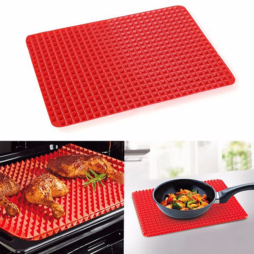 barbecue grill for outdoor bbq grill mats silicone non-stick fat-reducing pyramid pan baking tray sheet for microwave oven(China (Mainland))