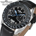 orologi Sport Style Winner men watches with gift box black dial silver bars index black bezel
