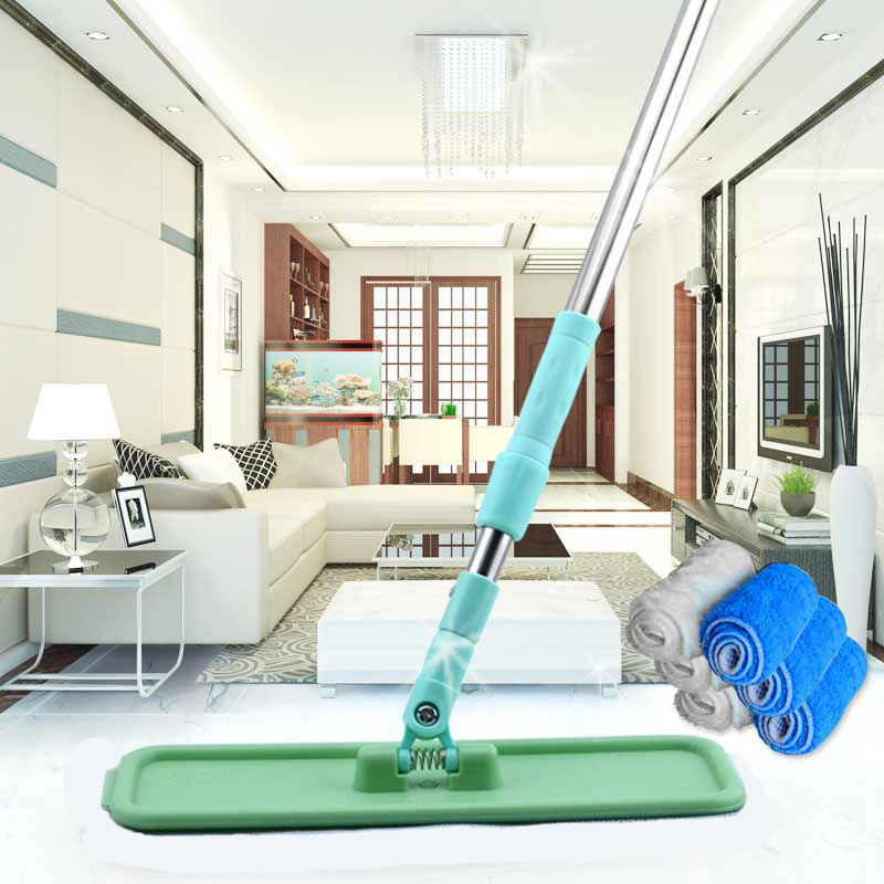 Top Quality Stainless Steel+ABS telescopic flat mop with 6 microfiber mop head,mops floor cleaning,house cleaning,easy floor mop(China (Mainland))