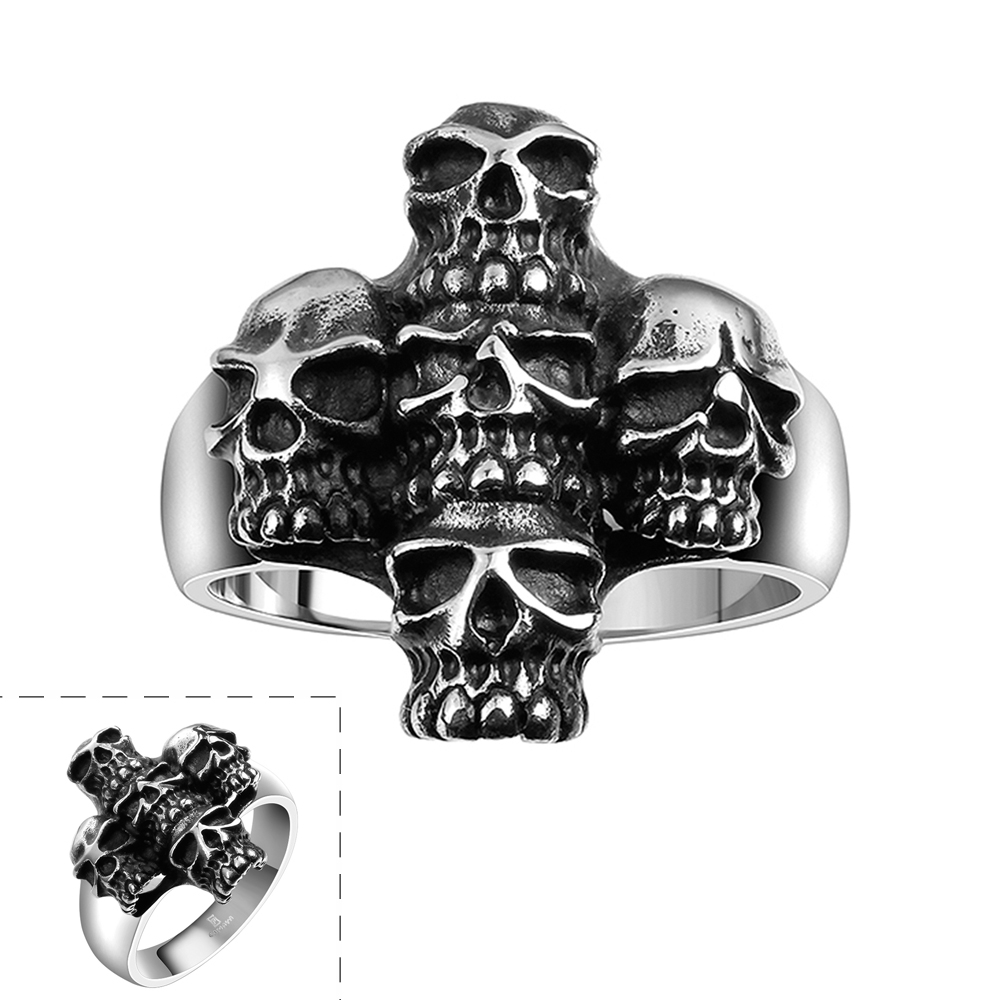 Men's Ring 1 PC Skull Cross Fashion Punk 316L Stainless Steel Cool Party Gift For Boyfriend US Size 8/9/10/11(China (Mainland))
