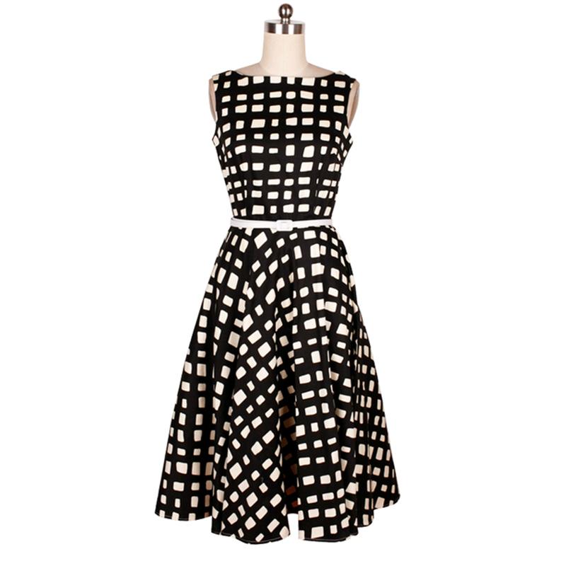 2016 Audrey Hepburn Dresses Plaid Vestidos Elegant Summer Vintage Dresses Sleeveless Slash neck Print Retro Ball Gown Dress S-XL(China (Mainland))