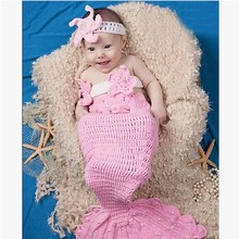 Mermaid Photography background knitting hundred days photos suit/peacock baby suit photography studio children clothing snail