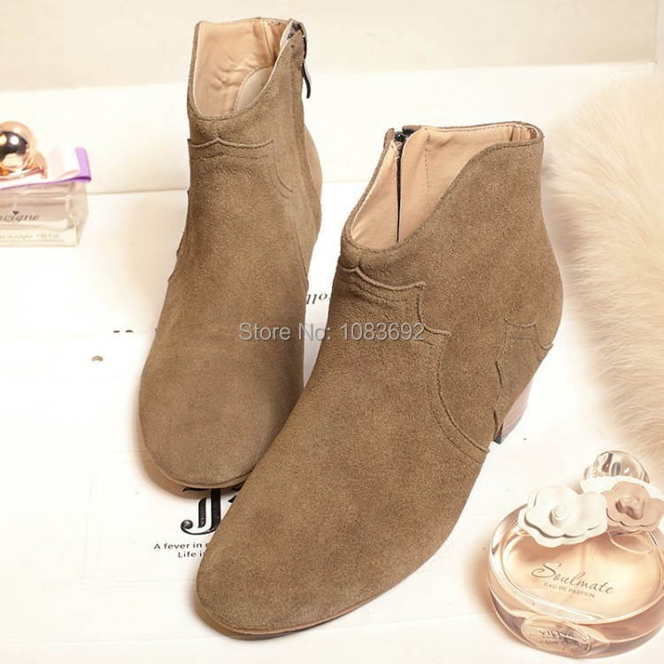 Woman fashion simple matte Genuine leather ankle boots Martin boots high-heeled boots US size 4-9 Drop Shipping  Black, khaki <br><br>Aliexpress