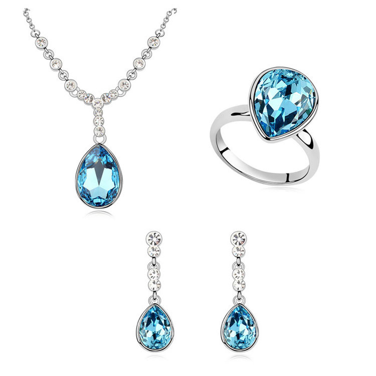 Wedding Accessories Bride Jewelry Set Made With Swarovski Elements Crystal Teardrop Ring Earrings Necklace Women Sets 3 Color