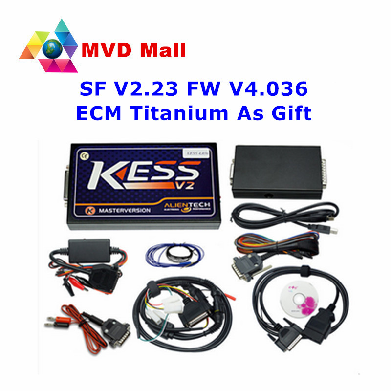 DHL Free And Fast KESS V2 V2.23 OBD2 Manager Tuning Kit No Token Limit Kess V2 Master Version FW V4.036 Auto ECU Programmer(China (Mainland))
