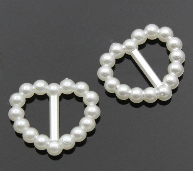 "200PCs Acrylic Heart Ribbon Slider Buckles Decorative Shoe Buckles 17x15mm(5/8""x5/8"")(China (Mainland))"