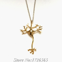 2015 New Style Science 3D Neuron Pendant Necklace Boho Chic Long Thin Chain Nerve Cell Fashion