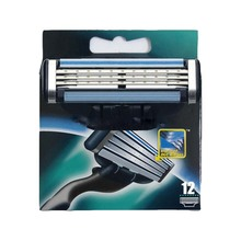 12 pcs lot Razor 3 Blades Men s Face Shaving Razor Blades Shaver For Men Sharpener
