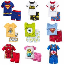 2014 New kids short clothes set boys girls kids short pajama set,cartoon children pyjamas,baby toddler sleepwear 2T-7T(China (Mainland))