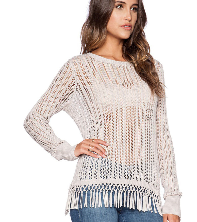 Lace crochet tops fringe hollow out t-shirts for women sexy long sleeve fashion harajuku t shirts 2015 knitted tshirt women sale(China (Mainland))