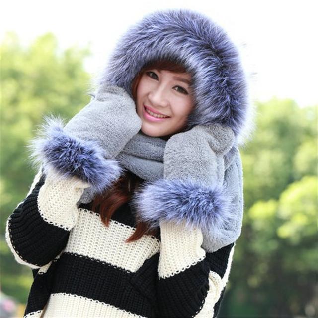 Зима теплая шапка шарф перчатки комплект женский теплый шарф перчатки установить ...