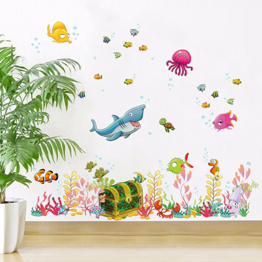 new cartoon underwater world wall stickers for kids baby stickers kids height chart wall sticker home decor cartoon giraffe