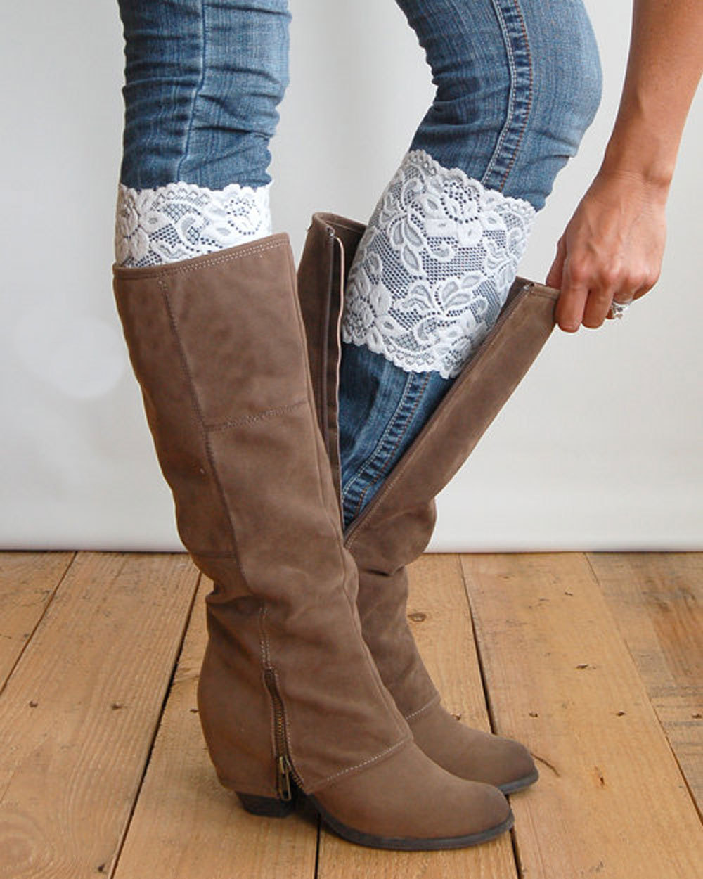 2015 new fashion 15cm elastic lace leg warmers boot