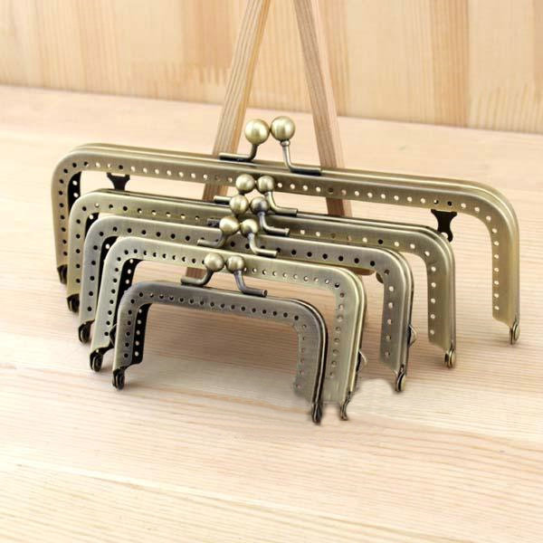 5pcs 18.5/15.5/13/10/8CM Bronze high quality Thicken square Metal Purse Frame Handle for Bag Sewing Craft,Coin Purse accessory(China (Mainland))