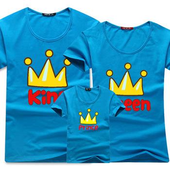3 шт./компл. мода лето семья устанавливает одежду мальчиков король королева принц корона короткий рукав футболки дизайна 1 шт. для папа мама сын