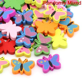 """Wood Spacer Beads Butterfly Mixed About 23.0mm( 7/8"""") x 17.0mm( 5/8""""), Hole: Approx 2.0mm, 10 PCs 2015 new"""