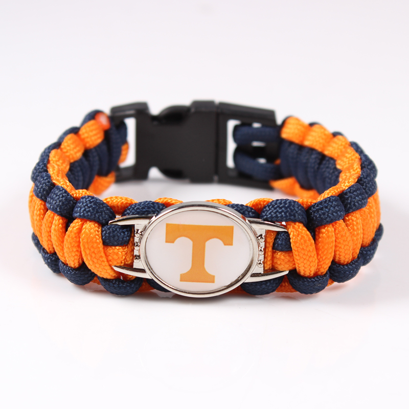 Mix 19 Color Can Choose Tennessee Volunteers Team Paracord Charm Bracelet NCAA Outdoor Survival Bangle For Outdoor Travel(China (Mainland))