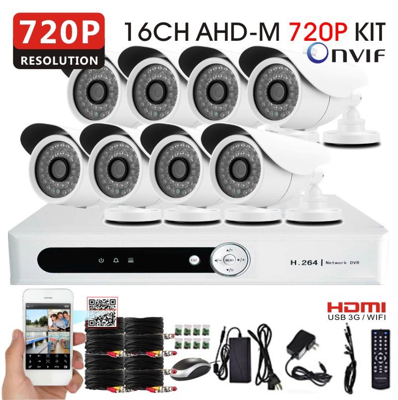 8pcs AHDM 720P 1200TVL CCTV security camera with 16channel full AHD-M 720P Network DVR system video surveillance Kit USB 3G WIFI(China (Mainland))