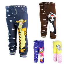 Pantaloni del bambino del cotone ragazzi pantaloni con stampa del fumetto a maglia del bambino della ragazza leggings elastico in vita busha pp pant pantaloni vestiti del bambino(China (Mainland))