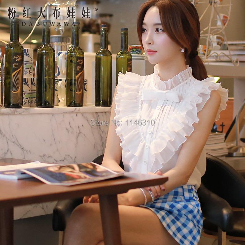 The white shirt Girl Pink Doll 2015 new summer falbala sleeveless shirt and bow