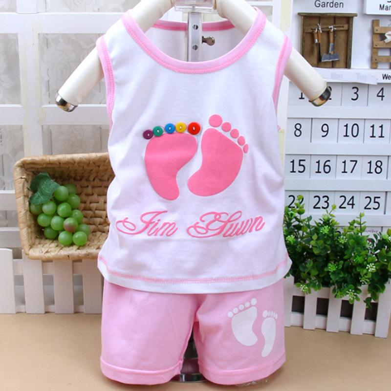 Kids cotton vest suit children's little feet pattern clothing set for baby boy girls(China (Mainland))
