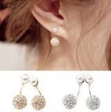 Fans still Korean jewelry full diamond imitation after imitation pearls double ball diamond earrings hang needle free shipping(China (Mainland))