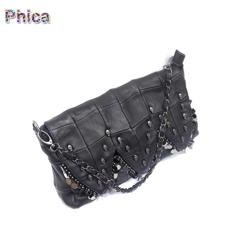 Punk Wind!! 2015 Fashion Genuine Leather Bag Skulls Bags Women Shoulder Bag Designer Handbag High Quality(China (Mainland))