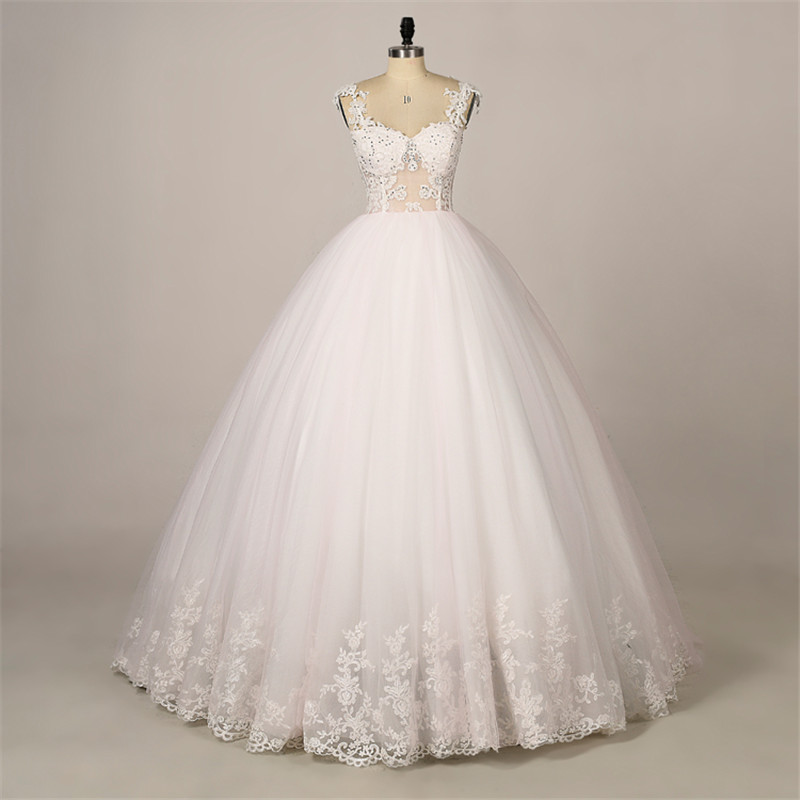 Wedding Dress Thin Lace Straps : Sheer lace top ball gown wedding dress with thin straps