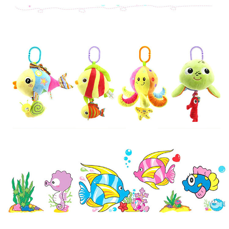 4 styles baby marine animals bed bell toy baby pram stroller bed appease plush doll hanging rattles mobiles with music LYJ149(China (Mainland))