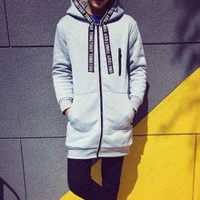 2015 male autumn overcoat plus size long with a hood trench solid color thick cardigan jackets casual cloak thin fashion coat(China (Mainland))