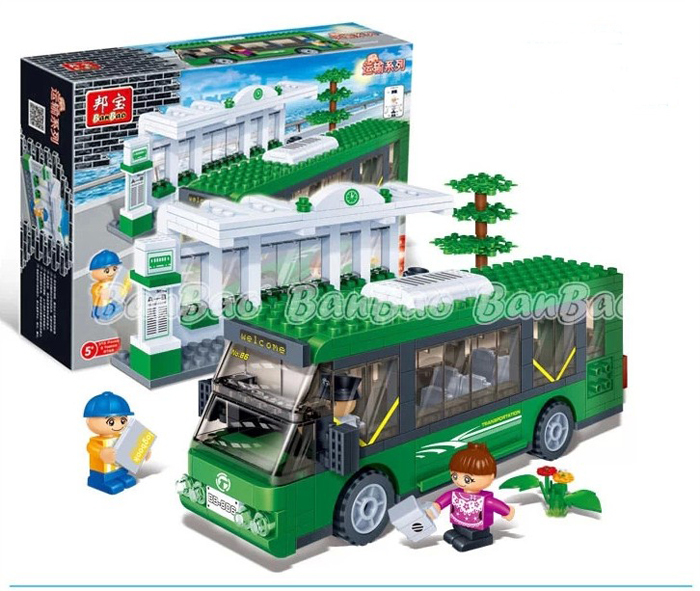 Banbao Building Blocks Hot Toys Kids City Bus Station Transport Construction Sets Model Kits Christmas Gift - C&T store