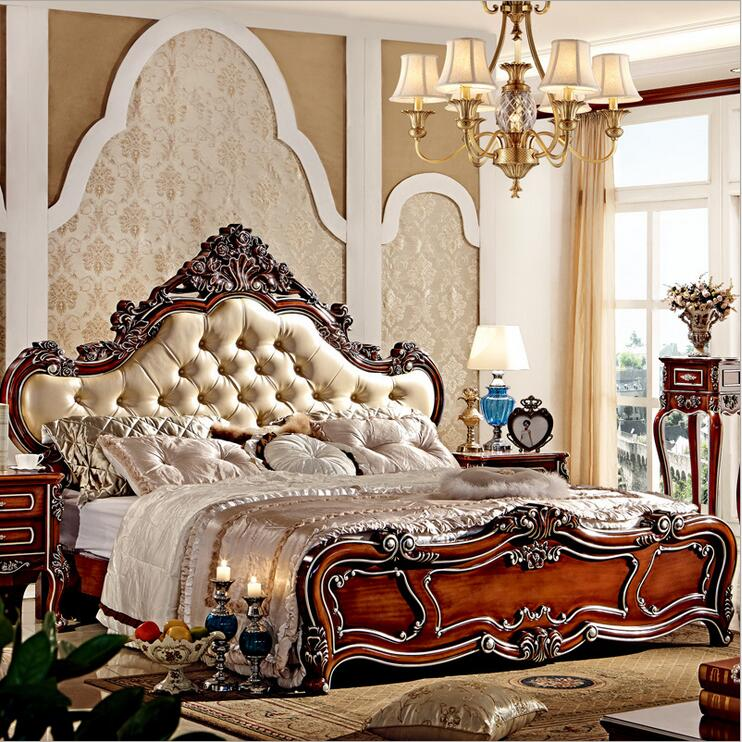 modern european solid wood bed Fashion Carved  leather  french bedroom furniture 10004<br><br>Aliexpress