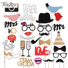 FENGRISE Mr Mrs Just Married Funny Photo Booth Props Bride Groom Sparkling Wedding Decoration Bridal Shower Event Party Supplies(China (Mainland))