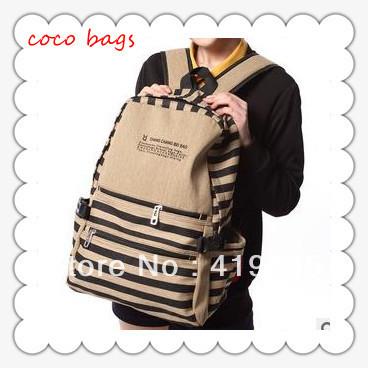 Retail backpacks korean women 2014 fashion high quality school student stripe leisure canvas satchel 4 colors bp0029(China (Mainland))