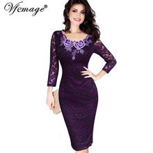 Vfemage Womens Autumn Elegant Embroidery See Through Lace Party Evening Special Occasion Sheath Vestidos Bodycon Dress 4240(China (Mainland))