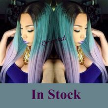Free shipping hot sell straight black to green to purple ombre heat resistant hair cheap long synthetic lace front wig/women wig