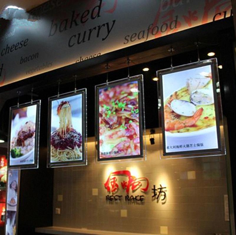 acrylic menu board single sided led illuminated restaurant menu