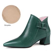 Hakiki Deri Martin Çizmeler Kadın Sonbahar Kadın Orta Topuklu Ayakkabılar A304 Bayanlar Ilmek Kahverengi Yeşil Siyah Sivri Burun yarım çizmeler(China)