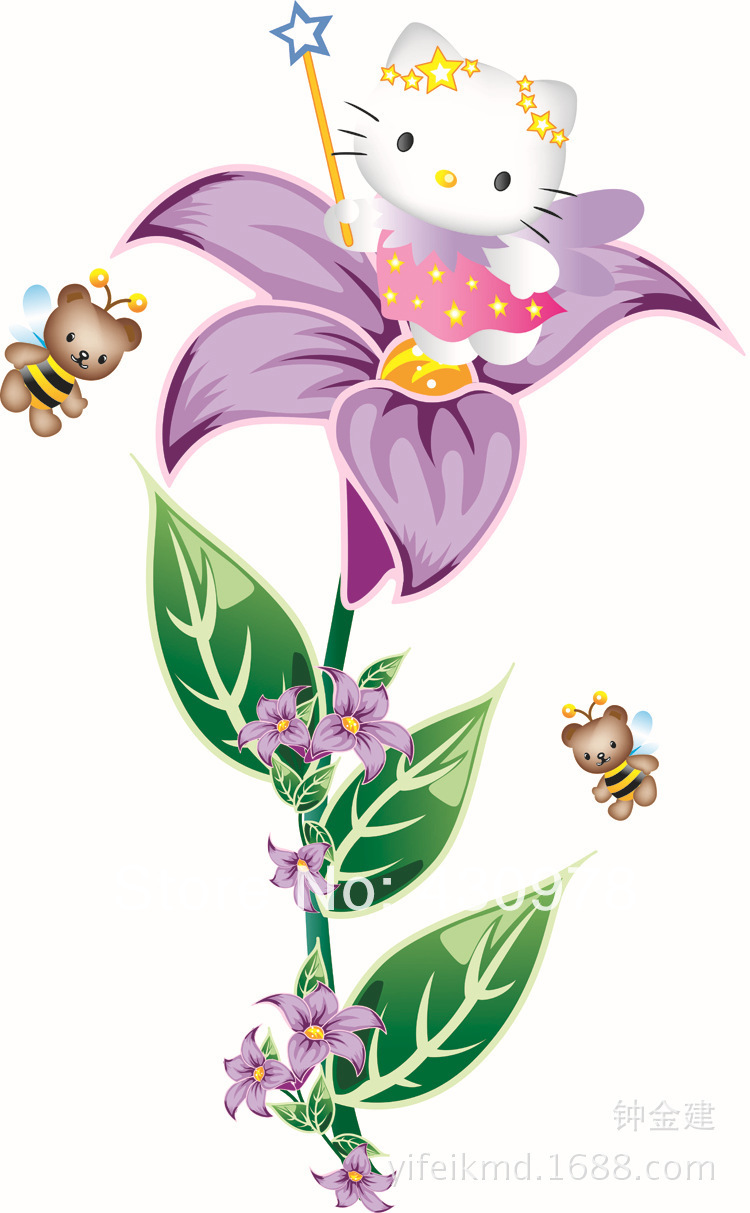QZ1295 Free Shipping 1 Pcs Blossoming Purple Flower Crtoon Kitty Cat Bear Bee Decoration Removable Wall Stickers Home Decoration(China (Mainland))