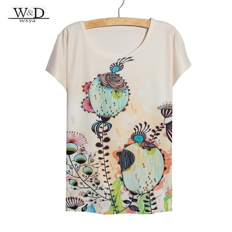 2015 new arrival women digital flower printed t shirt for Digital printed t shirts