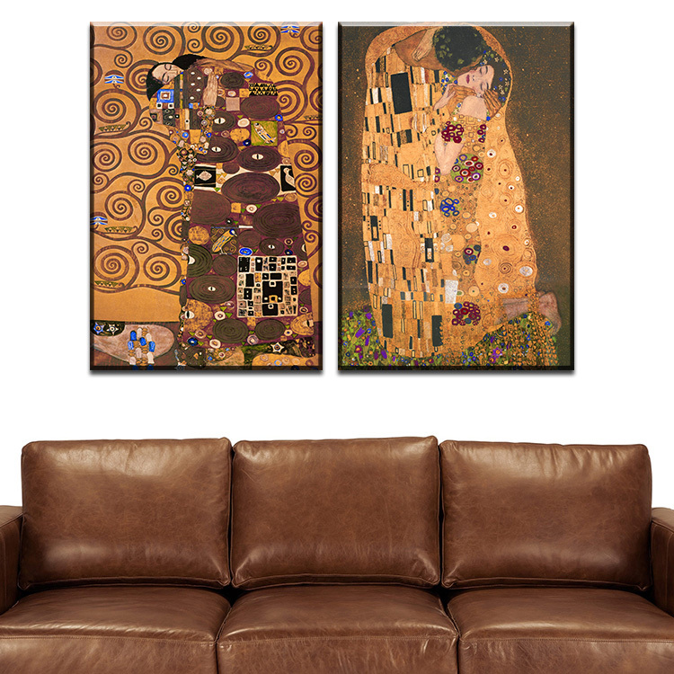 Buy 2 pcs best gustav klimt kiss home for Buy canvas wall art