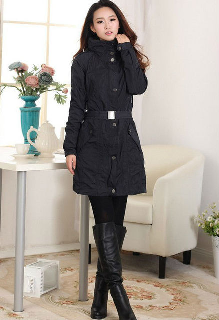 2014 New Womens Fashion Dust Coat Ladies Wind Coat Single-breasted Warm Buttons Outerwear Trench Wholesale Free Shipping