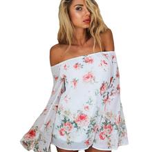 Off The Shoulder Tops For Women 2015 Sheer Floral Chiffon Flower Blouses Boho Shirt Blusa Summer Long Sleeve Feminine Plus Size
