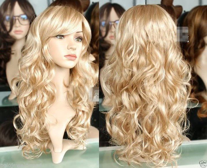 50 Cm Sexy Fashion Blonde Wigs Cosplay Anime Long Curly Wavy Not Lace Full Synthetic Hair Wigs Dance Party Perucas Peruca(China (Mainland))