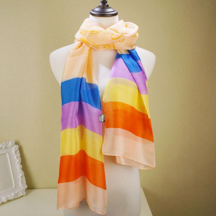 2015 new spring/summer silk scarves silk scarves long beach towel Rainbow petals Sun silk scarf(China (Mainland))