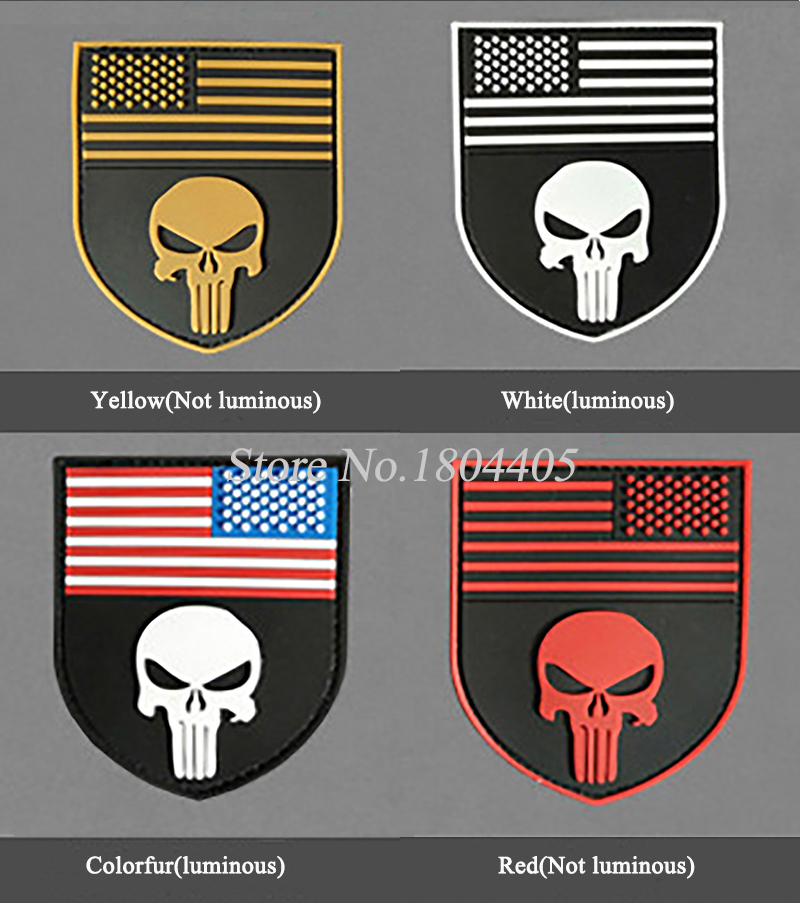 1PCS Punisher Patch American Flag Shield 3D Rubber PVC Patches Colorful Red Yellow White Military Tactical Skull Velcro Badges(China (Mainland))